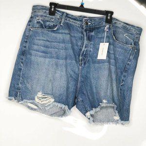 GOOD AMERICAN Blue Cut-offs Distressed Shorts, 18